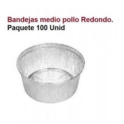BANDEJAS ALUMINIO MEDIO POLLO REDONDO 100 UNID