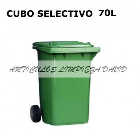 CUBO SELECTIVO CON RUEDAS Y TAPAS 70L
