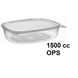 ENSALADERA PLASTICO BISAGRA 1500CC OPS PAQ 50UNID C/4PAQ