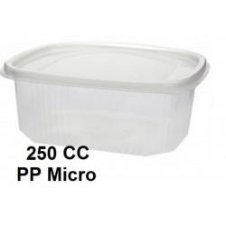 ENSALADERA PLASTICO  BISAGRA  250CC MICRO PP PAQ 50UNID C/18PAQ
