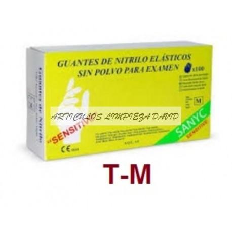 GUANTES NITRILO SENSITIVE SANYC  T-M 100UNID