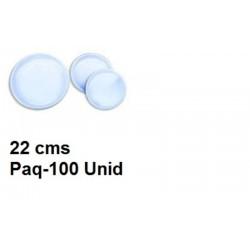 Platos blancos 22 cm plastico