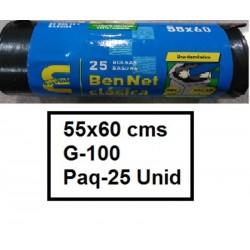SACOS BOLSAS NGR 55*60  G-100 25U