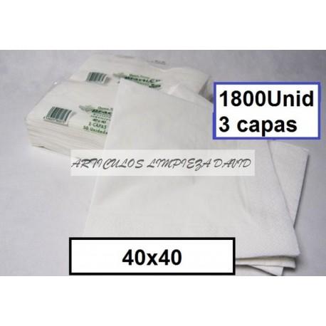 SERVILLETAS CAJA TISSUE 40*40 3C BLCO 1800U 214