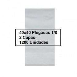 SERVILLETAS CAJA PP 1/8 40*40 2C BLCO 1200U