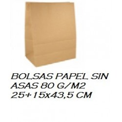 BOLSAS PAPEL SIN ASAS 80 G/M2 25+15x43,5 CM 250UNI