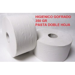 HIGIENICO INDUSTRIAL GOFRADO 350GR  PASTA DOBLE 2H  1 UNIDAD (PAQUETES 18 UNIDADES)