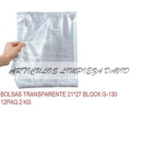 BOLSAS TRANSPARENTE 21*27 BLOCK G-130 12PAQ 2 KG