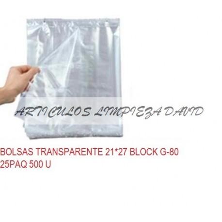 BOLSAS TRANSPARENTE 21*27 BLOCK G-80 25PAQ 500 U