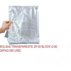 BOLSAS TRANSPARENTE 25*30 BLOCK G-80 20PAQ 500 UNI