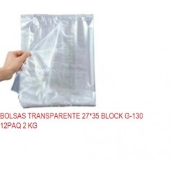 BOLSAS TRANSPARENTE 27*35 BLOCK G-130 12PAQ 2 KG