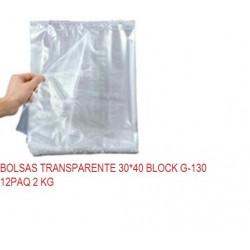 BOLSAS TRANSPARENTE 30*40 BLOCK G-130 12PAQ 2 KG