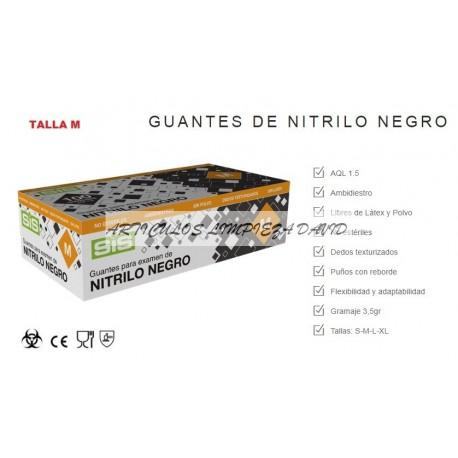 GUANTE  NITRILO NEGRO TALLA MEDIANA-100 UNIDADES