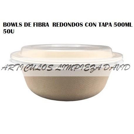 BOWLS DE FIBRA  REDONDOS CON TAPA 500ML 50U