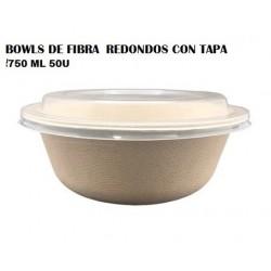 BOWLS DE FIBRA  REDONDOS CON TAPA 750ML 50U