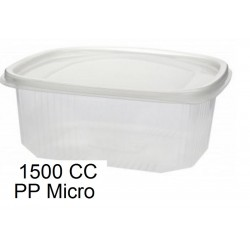 ENSALADERA PLASTICO  BISAGRA 1500CC MICRO PP 50UNID C/4PAQ