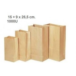 BOLSA PAPEL SIN ASA 15 + 9 x 26,5 cm. 1000U