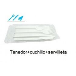 CUBI CUCHILLO+TENEDOR+SERVILLETA 1 UNIDAD