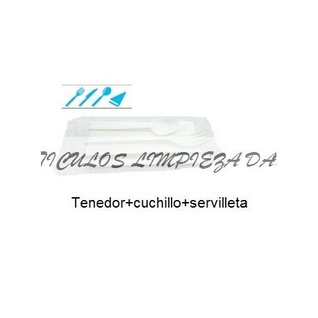 CUBI CUCHILLO+TENEDOR+CUCHARILLA+SERVILLETA 1 UNIDAD