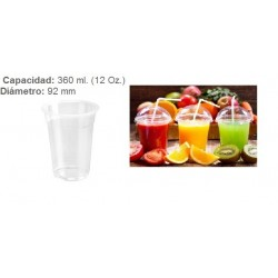 VASO TRANSPARENTE 355 CC PET 50U
